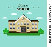 "school building with text ""back ... 