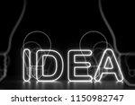 glowing neon white idea sign ... | Shutterstock . vector #1150982747
