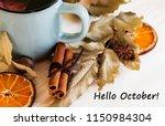 autumn  fall leaves  hot... | Shutterstock . vector #1150984304