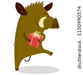 cute boars or warthog character ... | Shutterstock .eps vector #1150990574