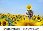 girl in the sunflower field.... | Shutterstock . vector #1150991624