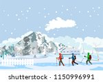 winter extreme sport  extreme... | Shutterstock .eps vector #1150996991