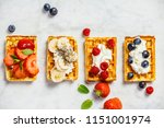 traditional belgian waffles... | Shutterstock . vector #1151001974