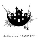 haunted house and spider web ...   Shutterstock .eps vector #1151011781