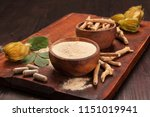 roots and powder of ashwagandha ... | Shutterstock . vector #1151019941