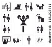 set of 13 simple editable icons ... | Shutterstock .eps vector #1151028911