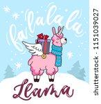 cute llama unicorn christmas...   Shutterstock .eps vector #1151039027