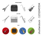 electric guitar  loudspeaker ... | Shutterstock .eps vector #1151045534