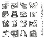vector line adventure icon set. ... | Shutterstock .eps vector #1151068931