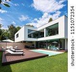 exterior modern white villa...   Shutterstock . vector #1151072354