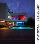 Modern Villa With Colored Led...