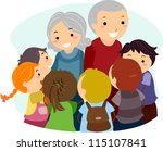 Illustration of Kids Gathered Around an Elderly Woman and an Elderly Man - stock vector
