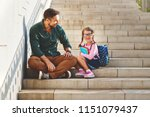 first day at school. father... | Shutterstock . vector #1151079437