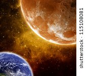 Abstract scientific background - orange moon and planet earth in space. Elements of this image furnished by NASA - stock photo