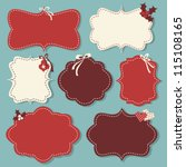 a set of christmas vintage... | Shutterstock .eps vector #115108165