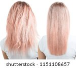 blonde hair before and after... | Shutterstock . vector #1151108657