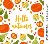 greeting card with pumpkins ... | Shutterstock .eps vector #1151116124