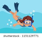 snorkeling. little girl dives... | Shutterstock .eps vector #1151129771