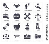 set of 16 icons such as bandage ... | Shutterstock .eps vector #1151132117