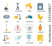 set of 16 icons such as drying  ...