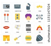 set of 16 icons such as guitar...