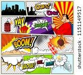 comics template. vector retro... | Shutterstock .eps vector #1151149517