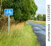 Bicycle lane sing on a cycle route in Scotland - stock photo