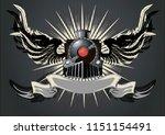 winged locomotive. dark poster... | Shutterstock .eps vector #1151154491