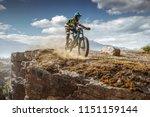 Mountain Biker On Trail. Male...