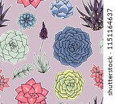 vector succulents seamless... | Shutterstock .eps vector #1151164637