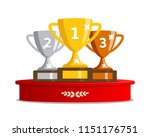 winners podium with cups.... | Shutterstock .eps vector #1151176751