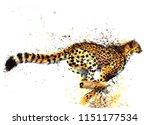 Cheetah Hand Drawn Watercolor...
