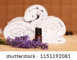 white towels and massage rocks... | Shutterstock . vector #1151192081