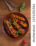 eggplants with tomatoes ... | Shutterstock . vector #1151201561