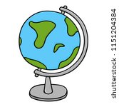 globe   model of earth. colored ... | Shutterstock .eps vector #1151204384