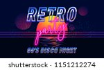retro party 80's banner  cover... | Shutterstock .eps vector #1151212274