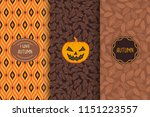 set of autumn seamless patterns.... | Shutterstock .eps vector #1151223557