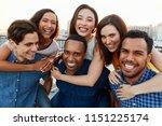 portrait of men giving women... | Shutterstock . vector #1151225174