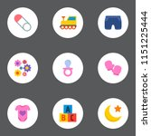 set of baby icons flat style... | Shutterstock .eps vector #1151225444