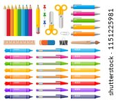 color pens pencils markers and... | Shutterstock .eps vector #1151225981