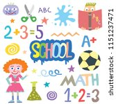 back to school doodle funny... | Shutterstock .eps vector #1151237471