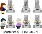 a japanese visit to a grave set.... | Shutterstock .eps vector #1151238071