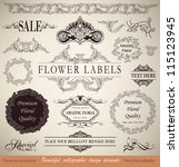 vector set  calligraphic floral ... | Shutterstock .eps vector #115123945