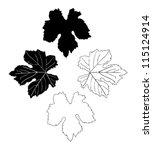 vine leaves drawn   Shutterstock .eps vector #115124914