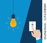man hand turning on  flat light ... | Shutterstock .eps vector #1151258084
