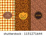 set of autumn seamless patterns.... | Shutterstock .eps vector #1151271644