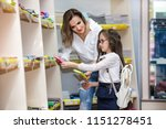 mother and daughter buying... | Shutterstock . vector #1151278451