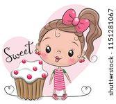 Greeting Card Cute Cartoon Girl ...