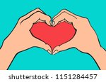 two hands making heart sign.... | Shutterstock .eps vector #1151284457