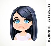 beautiful upset sad cartoon... | Shutterstock .eps vector #1151302751